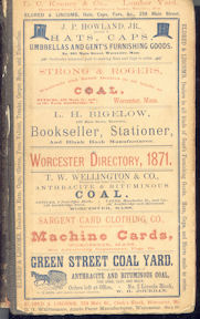Worcester MA Directory for 1871